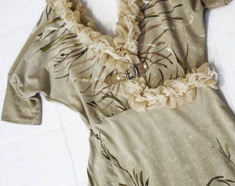Hand painted Dress - Floral ruffled garden - cotton jersey -