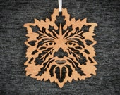 Greenman Ornament - wood laser cut maine made holiday Christmas decoration deity spirit forest tree leaf oak nature pagan wicca yule winter