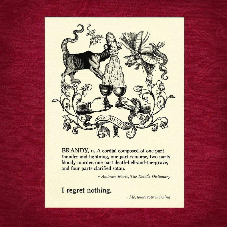 Greeting Card - Brandy - Victorian illustration drink drunk party fun  alcohol slainte cheers no regrets good times missing you demon