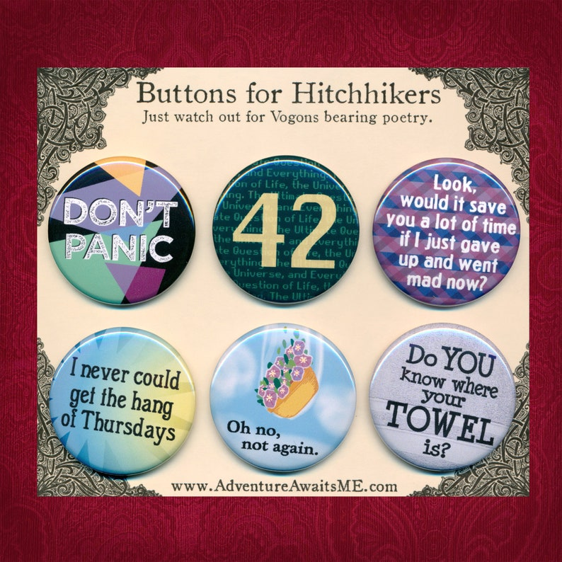 Hitchhikers Guide Pinback Button Set  galaxy don't panic image 0