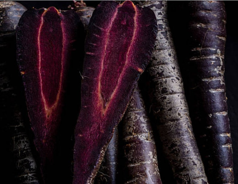 Heirloom Black Carrot Nebula Seeds Vegetable Garden Organic image 0