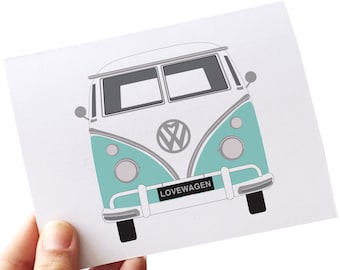 wedding anniversary card // i love you card // card for husband  // love cards // volkswagen bus card // anniversary cards for men