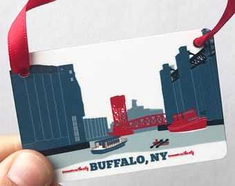 Buffalo, NY Ohio Street Silo City Ornament, gift for him or her
