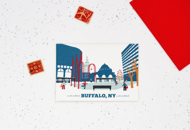 A Buffalo NY Cards, A Winter Wonderland, Made in Buffalo, Ice Skating