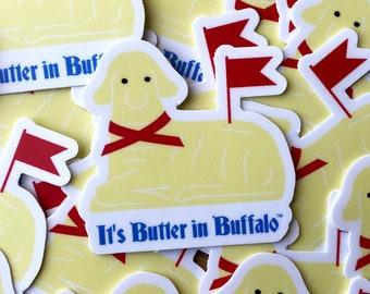 It's Butter in Buffalo™, buffalo sticker, buffalo ny art, buffalo gift, butter lamb, gifts under 10, easter sticker, bufffalo ny