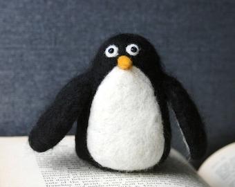 Needle Felted Penguin Figure Pincushion Soft Natural Fiber Sculpture -  Handmade 100% Wool and Glass Bead Eyes - CUSTOM ORDER
