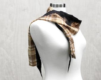 Short Brown Plaid Nuno Felt Fashion Scarf Soft Wool Silk Womens Fashion Scarves Felted Wearable Art Fashion Brown Black - READY TO SHIP
