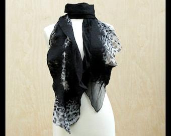 Dark Leopard Scarf Nuno Felt Silk and Wool Handmade Fashion Accessory Long Elegant Animal Print Gray Black Draping Scarves - READY TO SHIP
