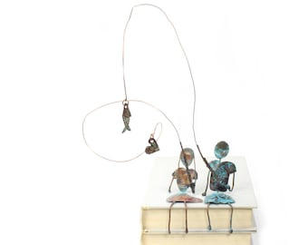 Couple Fishing Together Handmade Copper Sculpture Man And Woman Fish Heart Metal Sculpture Couples Gift Anniversary Gift - CUSTOM ORDER
