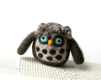 Needle Felted Owl Figure Pincushion Handmade 100% Wool and Glass Bead Eyes - Gray with Teal Eyes - CUSTOM ORDER