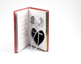 Red Book Of Love Engagement Ring Holder Hollow Book Box Heart Circle Cut Red Ring Bearer Wedding Engagement Proposal Idea - CUSTOM ORDER