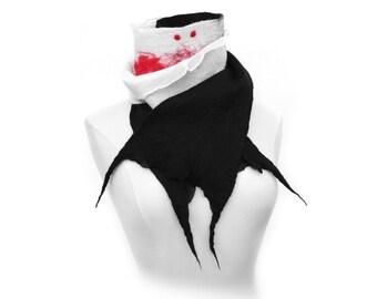 Bit By A Vampire Scarf  - Unique Stylish Fashion Accessory Super Soft Black White Red Handmade Nuno Felt Natural Fiber Art - CUSTOM ORDER