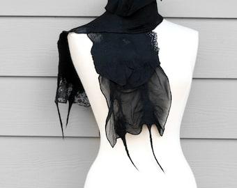 Black Womens Fashion Scarf Handmade Wool Silk Nuno Felted Unique Dark Polka Dot Fringe Clothing Accessory Christmas Gift - CUSTOM ORDER