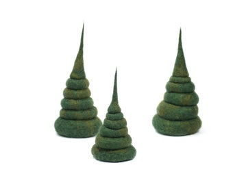 Needle Felted Evergreen Tree Or Multiple Trees Handmade 100% Wool Decorations Green Holiday Christmas Decoration 6 Inches - CUSTOM ORDER