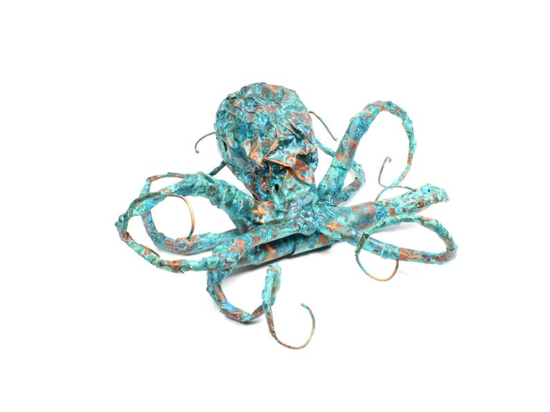 Octopus Sculpture Handmade Out Of Copper With Blue Patina Very image 0