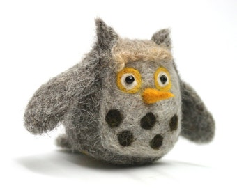 Bosworth the Owl - Needle Felt Wool Handmade Owl with Gold Eyes Natural Fiber Home Or Office Decoration For Owl Lover - CUSTOM ORDER