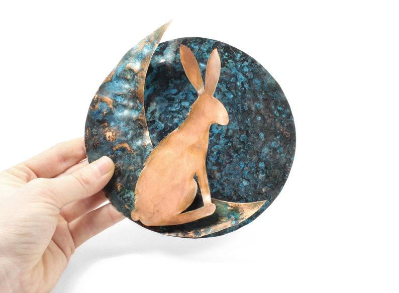 Moon Rabbit Copper Sculpture Wall Hanging Handmade From Sheet image 0