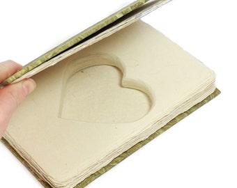 Green Ring Holder Book Box Heart Shaped Handmade Blank Journal Handmade Write Your Own Story Wedding Engagement Proposal - CUSTOM ORDER