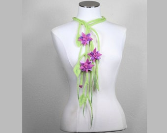 Flower Necklace Handmade Wet Felted Fashion Accessory Bright Green Pink Purple Drape Necklace Floral Flowers Feminine - CUSTOM ORDER