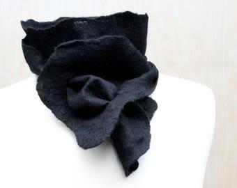 Short Black Nuno Felt Fashion Scarf Soft Wool Silk Womens Fashion Scarves Felted Wearable Art Minimalist Fashion - READY TO SHIP