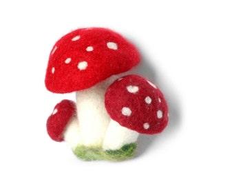 Red Amanita Mushroom Cluster with Moss - Handmade Needle Felting 100% Wool Felt Home Decoration Fairytale Style Unique Gift - CUSTOM ORDER