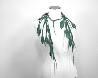 Leafy Felt Vine Necklace Garden Ivy Wearable Art Handmade 100% Super Fine Merino Wool Leaves Vine Costume Green - CUSTOM ORDER