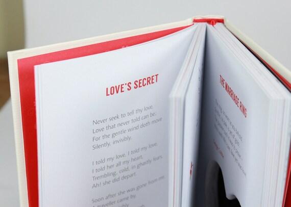 Miłość Wiersze Książki Pierścień Serca Obcięte Małżeństwo Ring Rozdział Handmade Poduszka Engagement Propozycja Romantyczny Krem Off White Zamówienie