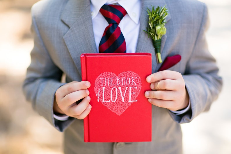 The Book Of Love Engagement Ring Holder Hollow Book Box Heart image 0