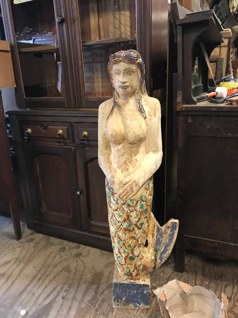 Hand Carved Mermaid Statue Nautical And Garden And Decor