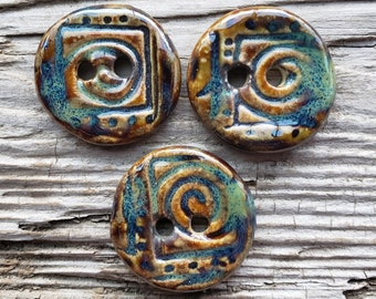 Handmade Ceramic Buttons, Button Sets, Rustic Buttons, Sewing Supplies