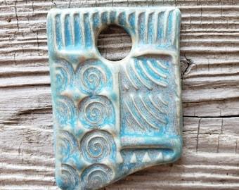 Handmade Ceramic Pendant, Turquoise Pendant, Rustic Pendant, Jewelry Supplies