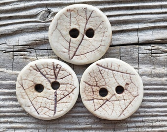 Handmade Ceramic Buttons, Leaf Buttons, Brown Buttons, Sewing Supplies