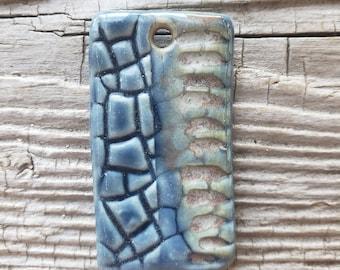Blue Pendant, Pink Pendant, Handmade Ceramic Pendant, Jewelry Supplies