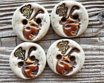 Acorn Buttons, Handmade Ceramic Buttons, Sewing Supplies