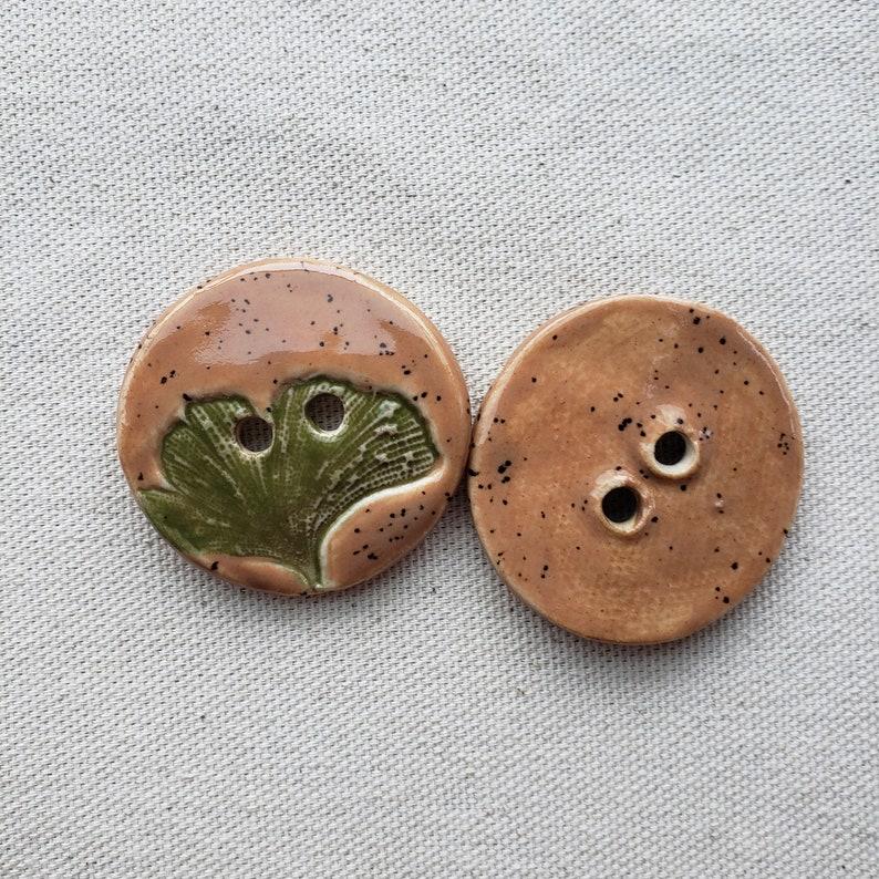 Porcelain Button Ginkgo Button Green Button Ceramic Button Brown Button Big Button