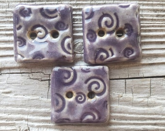 Lavender Buttons, Handmade Ceramic Buttons, Square Buttons, Sewing Supplies