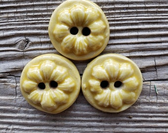 Flower Buttons, Yellow Buttons, Handmade Ceramic Buttons, Sewing Supplies