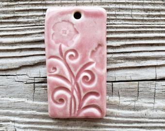 Pink Pendant, Ceramic Pendant, Floral Pendant, Jewelry Supplies