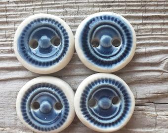 Blue Buttons, Handmade Ceramic Buttons, Button Sets, Sewing Supplies