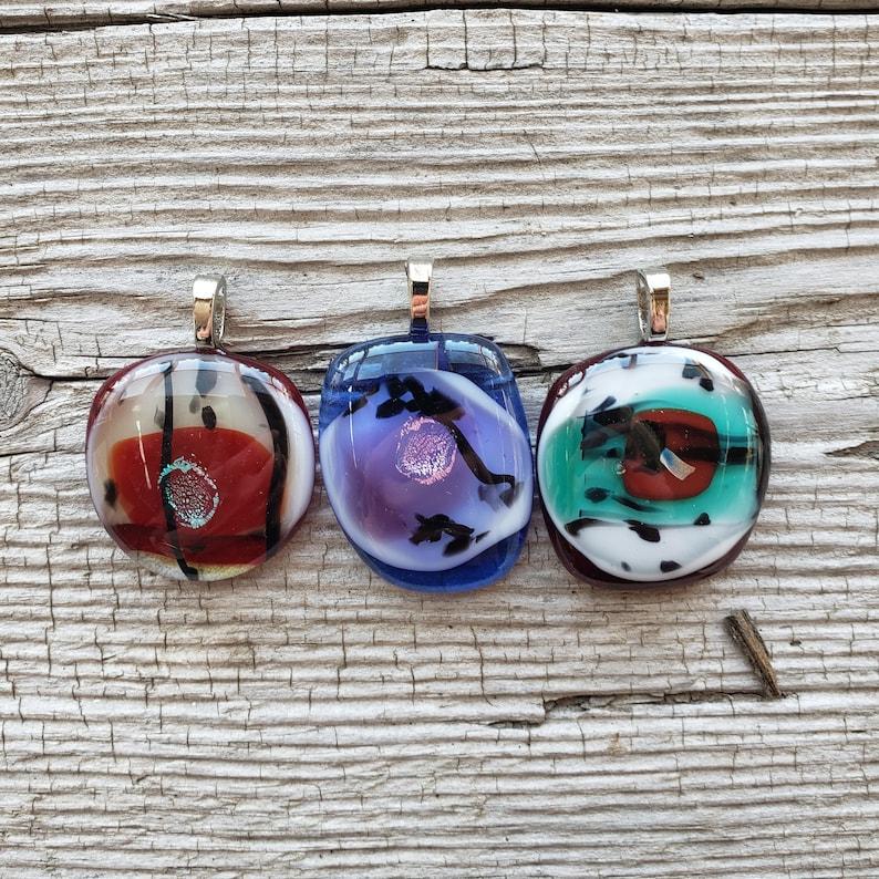 Fused Glass Pendants Glass Jewelry Glass Cabochons