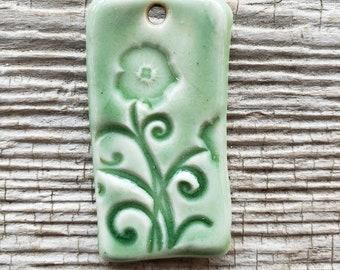 Green Pendant, Handmade Ceramic Pendant, Floral Pendant, Jewelry Supplies