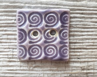 Lavender Button, Handmade Ceramic Button, Large Buttons, Sewing Supplies