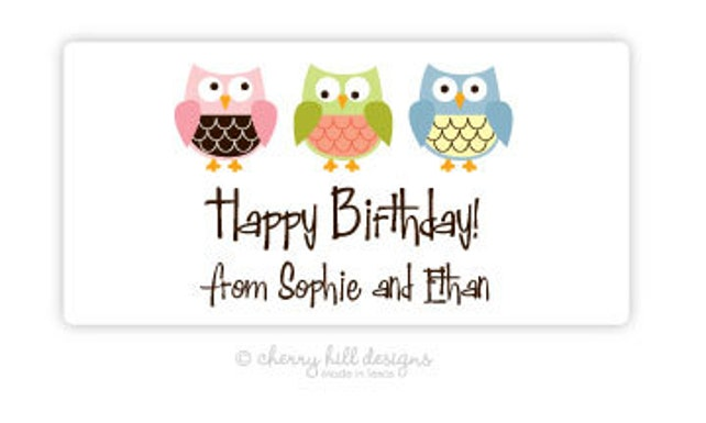 "Owl Gift Tag - set of 24 4"" x 2"""