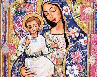 Madonna and child, Panagia Eleousa, Virgin Mary Jesus painting, mother child, christian folk art, motherhood, feminine decor print 8x11+