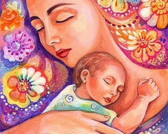 Mother child art motherhood art mothers love goddess   Etsy