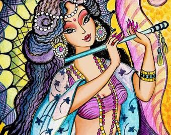 Indian mermaid painting, Indian mermaid woman flute umbrella, mermaid art, dancing girl, folk art, mermaid illustration print 8x12+