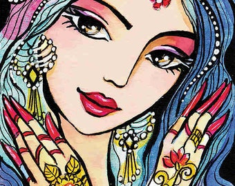 Indian bride art Indian woman painting Indian decor affordable art gifts art giclee, feminine decor, beauty painting print 8x11+