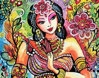 Kuan Yin, inspirational art, mermaid painting, watercolor illustration, painting, wall decor, feminine decor, beauty painting print 8x12+