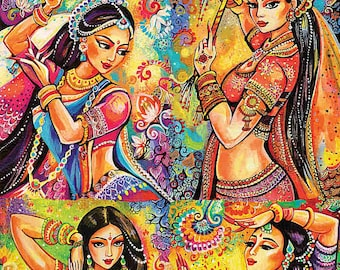 Bollywood dance, Indian classical dance, Indian woman painting, Indian decor painting woman, feminine painting, 4x set print 8.5x12+