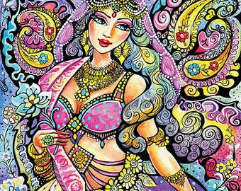 beautiful Indian woman painting, Indian bride, Indian dancer, paisley, wall decoration, Indian fairy, poster woman wall print 8x11+